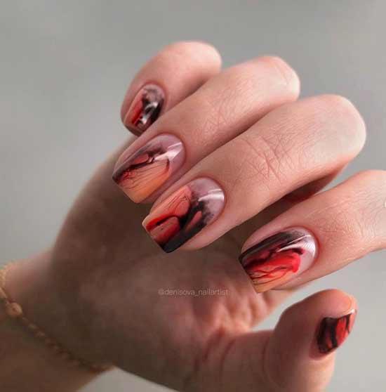 Черно-оранжевые ногти