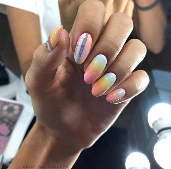 Желтым с оранжевым ногти дизайн