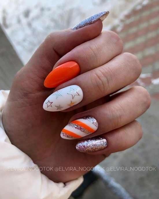 Яркий оранжевый цвет маникюра