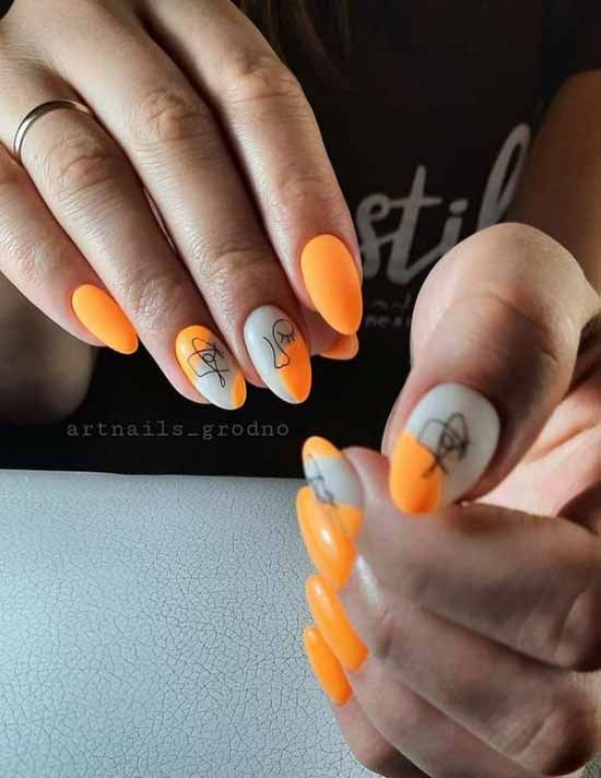 Оранжевый маникюр 2021: фото новинки с дизайном