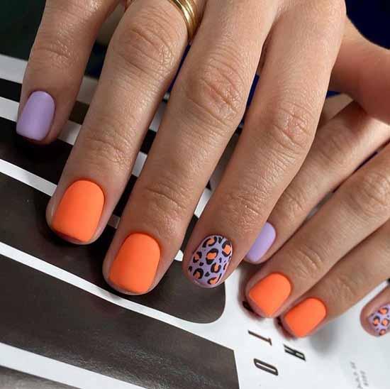Оранжевый с лиловым маникюр