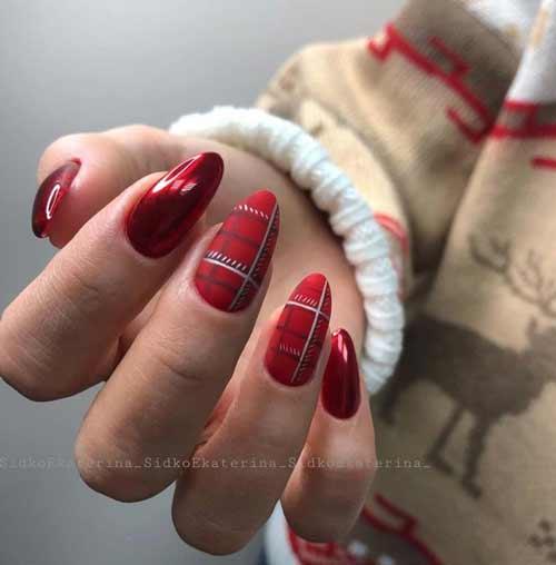Красно-черная клетка на ногтях