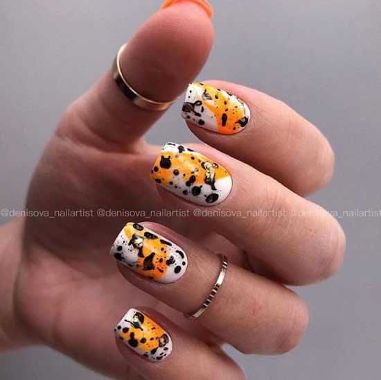 Оранжево-желтый маникюр