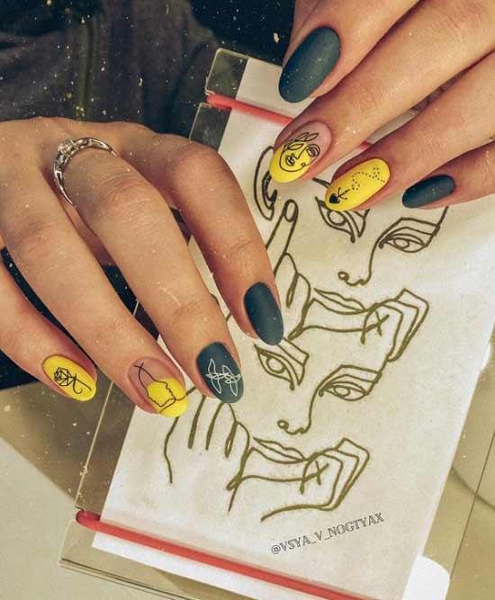 Желтый в сочетании с другими цветами в маникюре