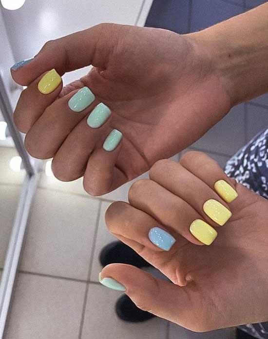Желтые короткие ногти дизайн