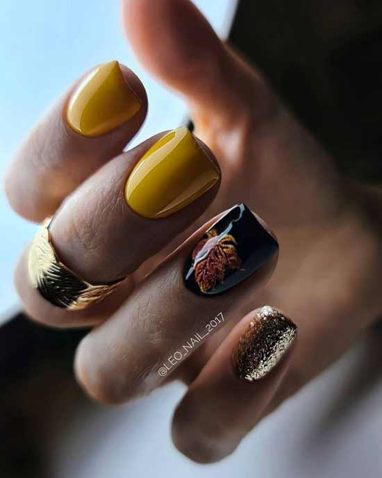 Желтый с фольгой и принтом