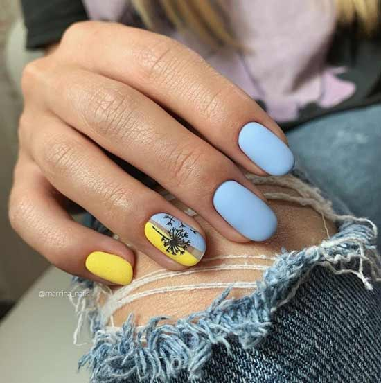 Желто голубой маникюр
