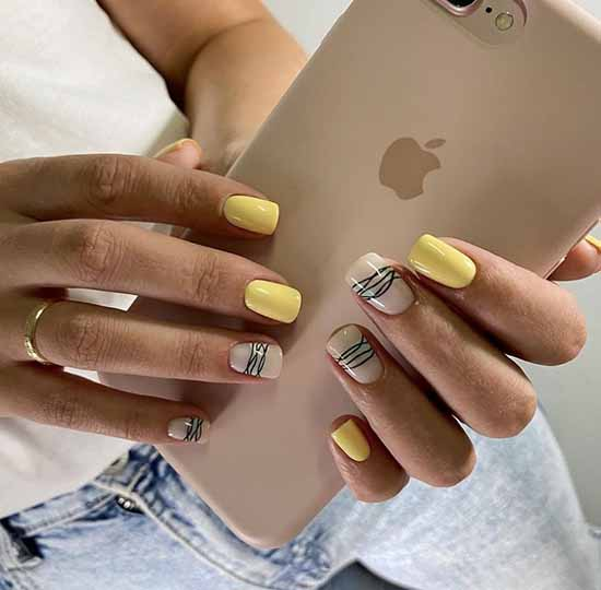 Дизайн желтый ногтей с паутинкой