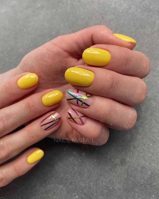 Дизайн желтый с цветной фольгой