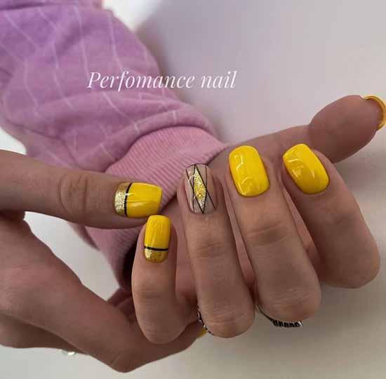 Желтые ногти с серебро блестками