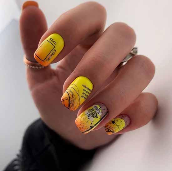 Желто-оранжевые ногти с паутинкой