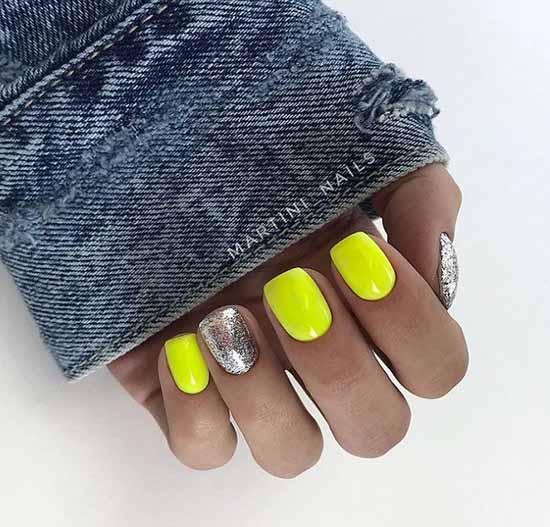 Желтый короткий маникюр