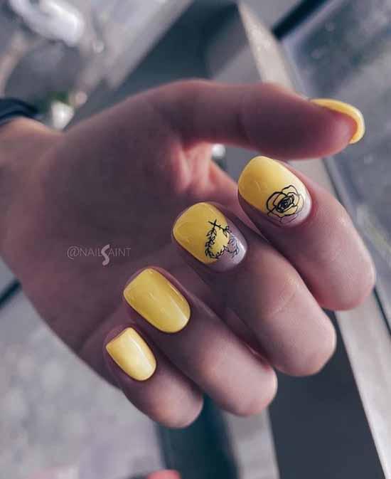 Желтый с черным цветком маникюр