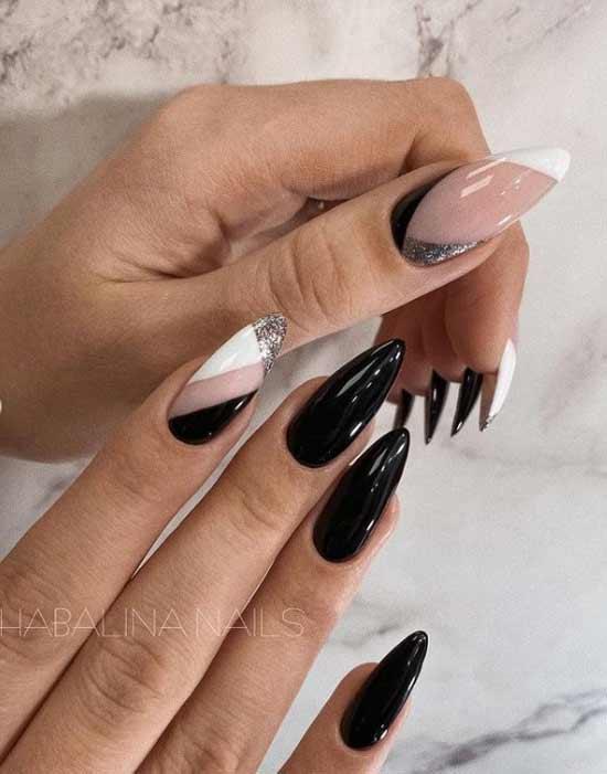 Черно-белый маникюр длинные ногти
