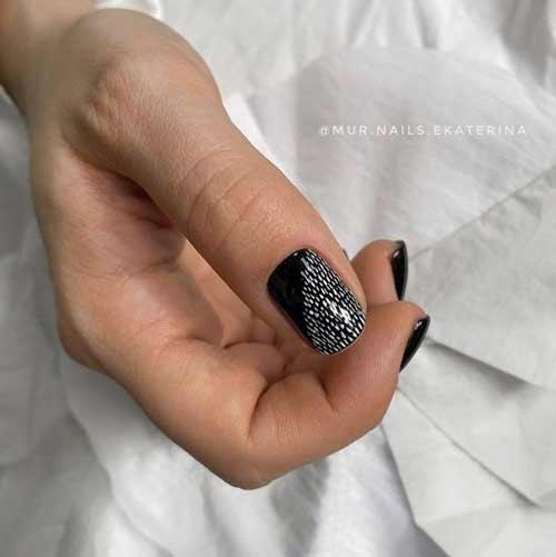 Черный с белым короткие ногти