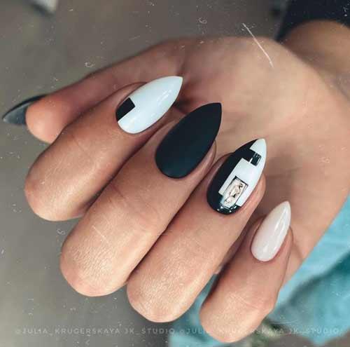 Острые черно-белые ногти