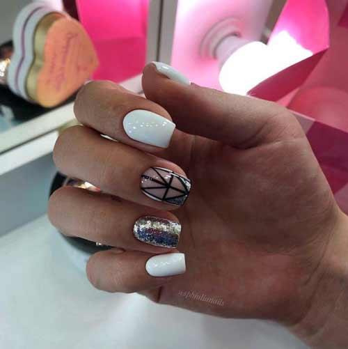 Черно-белая геометрия на ногтях