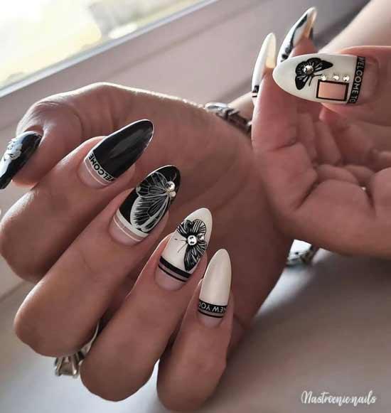 Черно-белые длинные ногти