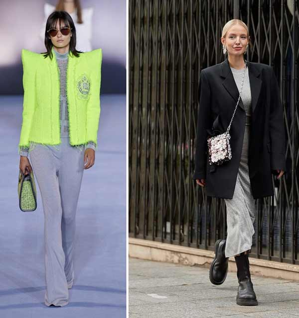 Широкие плечи - тренд в одежде весна-лето 2021