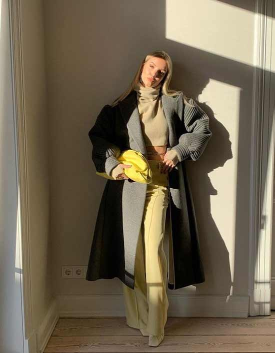 Серый + желтый образ в одежде