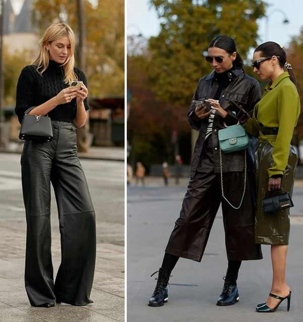 Цветная кожаная юбка - модный образ
