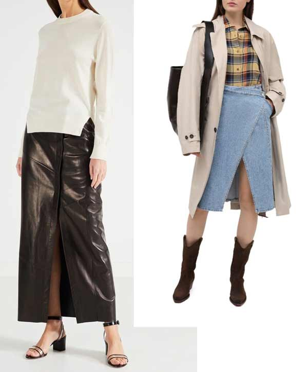 Кожаная и джинсовая модная юбка с запахом