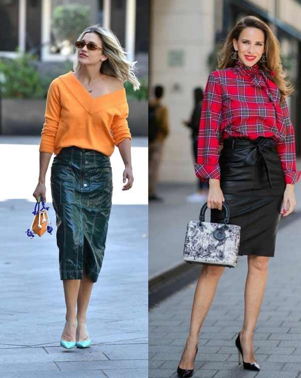 Модные кожаные юбки весна-лето