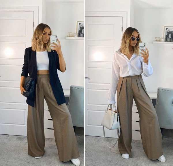 С чем носить широкие длинные брюки