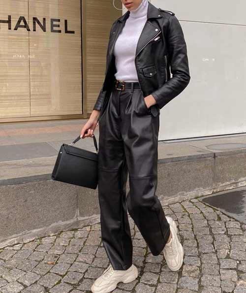 Образ с широкими кожаными брюками