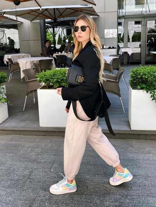 Спортивные широкие брюки с пиджаком