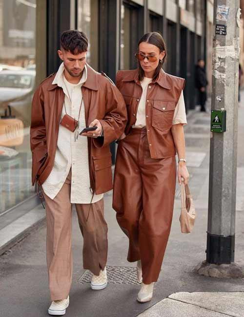 Кожаные коричневые брюки