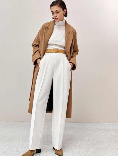 Белые широкие классические брюки