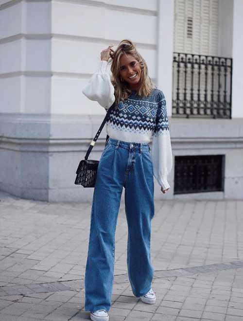 Широкие джинсы со свитером