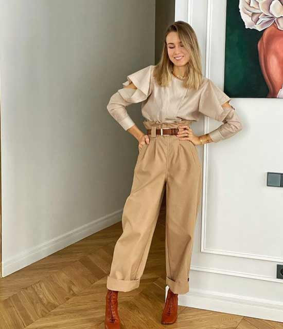 Широкие брюки горчичного цвета
