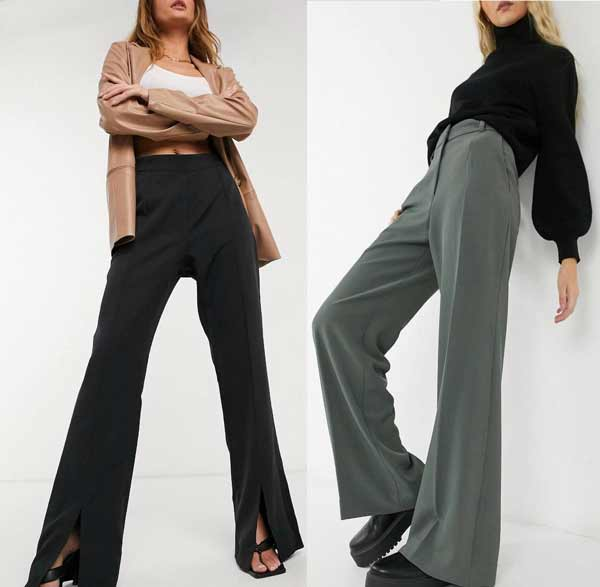 С чем носить широкие брюки с разрезами
