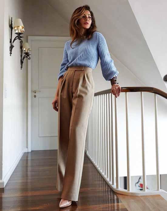 Широкие брюки 2021: с чем носить, фото, идеи для образов