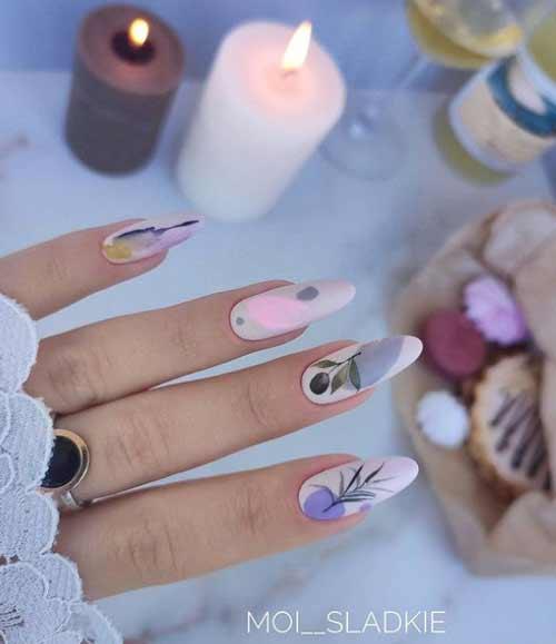 Нежный весенний маникюр длинные ногти