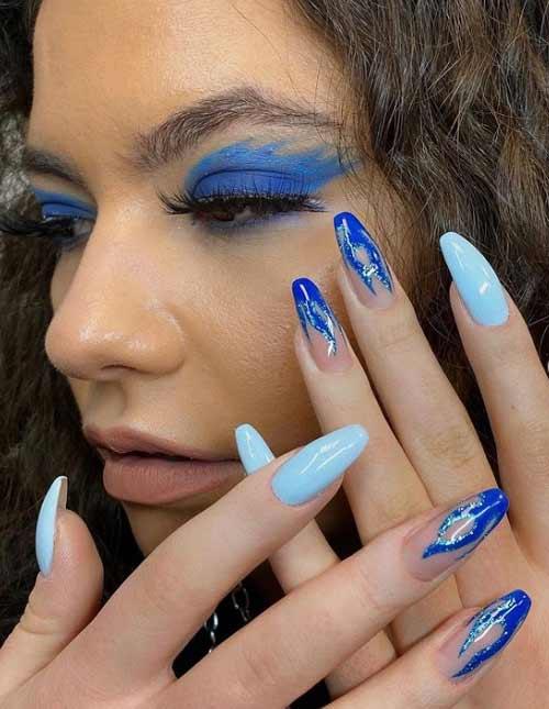 Голубой с синим маникюр