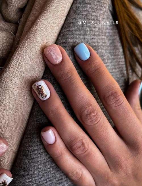 Короткие ногти в голубых оттенках