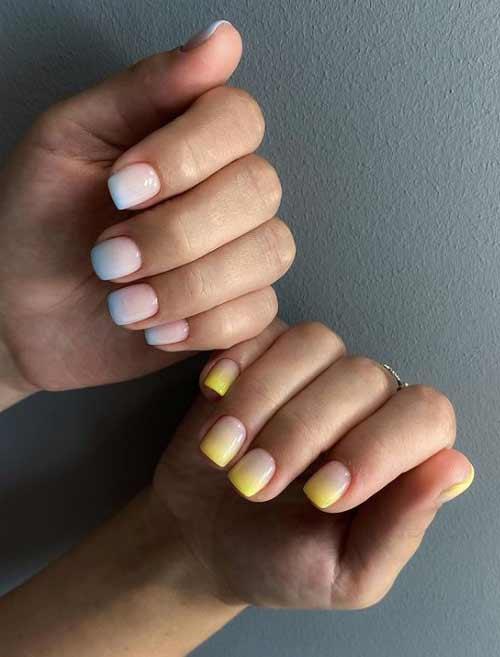 Очень короткие ногти голубой маникюр