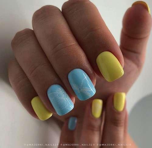 Весенний голубой нейл-дизайн