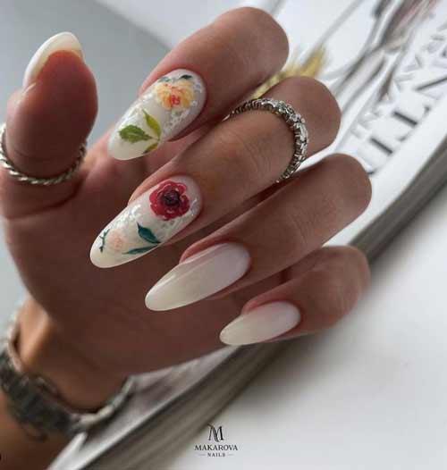 Летний дизайн длинных ногтей с цветочками