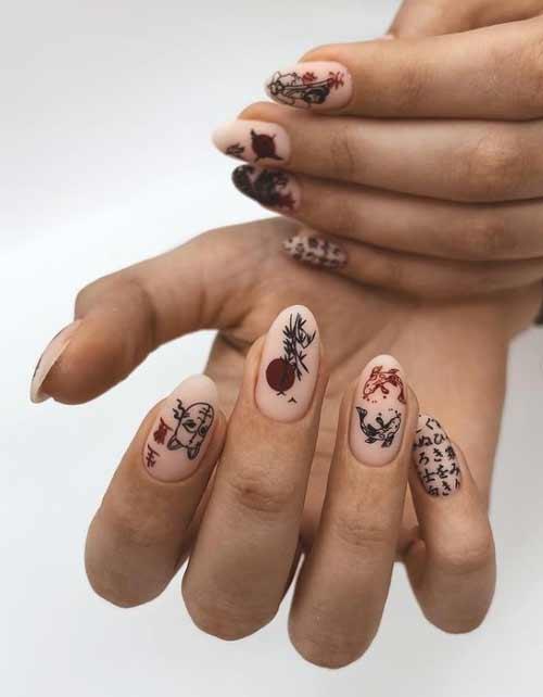 Длинные ногти стемпинг