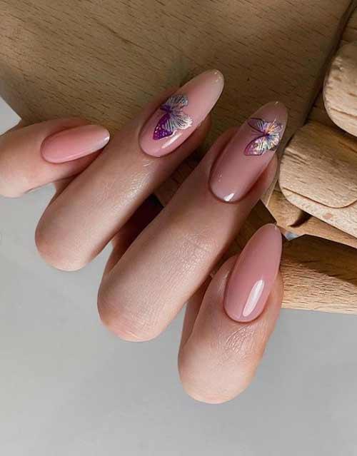Длинные ногти дизайн с бабочками