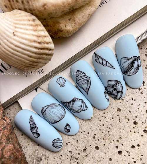 Морская тематика на ногтях