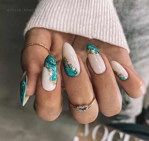 Текстуры на ногтях с фольгой