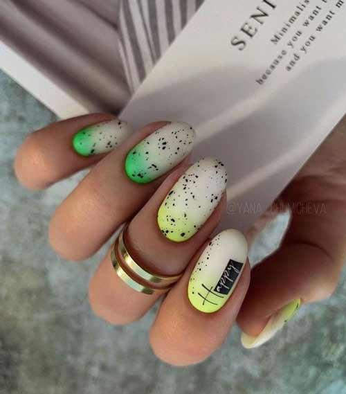 Желто-зеленый градиент на ногтях