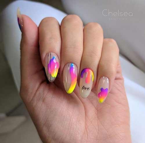 Неоновый летний дизайн ногтей