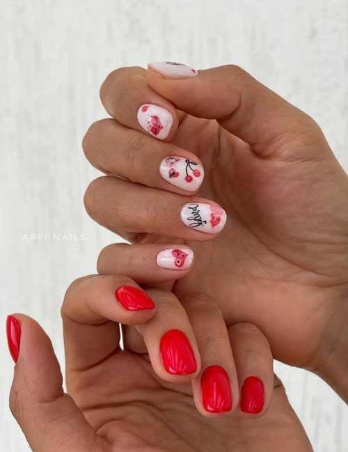 Рисунки вишенки на ногтях