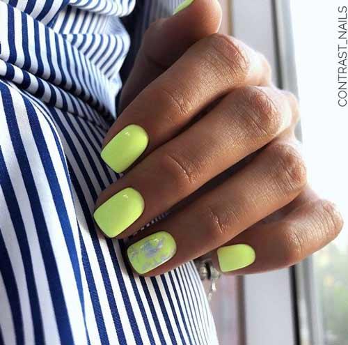 Зеленые неоновые ногти дизайн